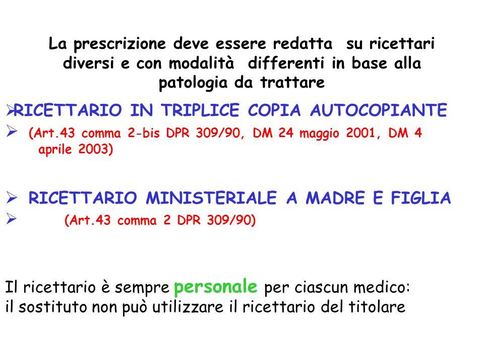 (Art.43 comma 2-bis DPR 309/90, DM 24 maggio 2001, DM 4