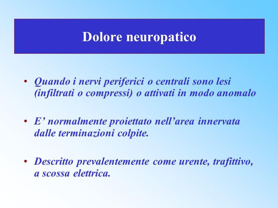 Dolore neuropatico Quando i nervi periferici o centrali sono lesi (infiltrati o compressi) o attivati in modo anomalo.