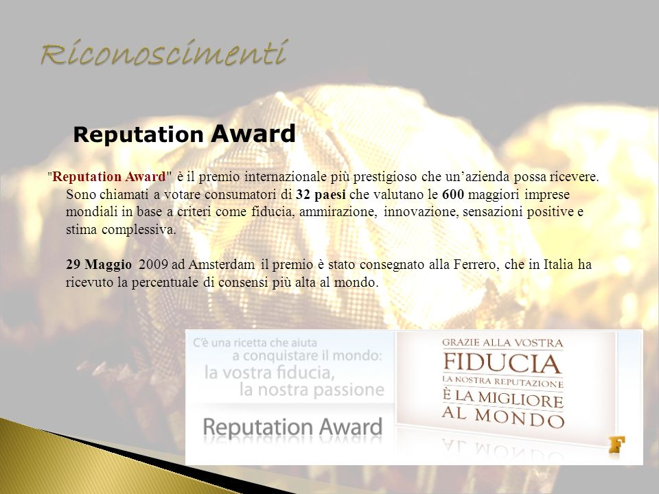 Riconoscimenti Reputation Award