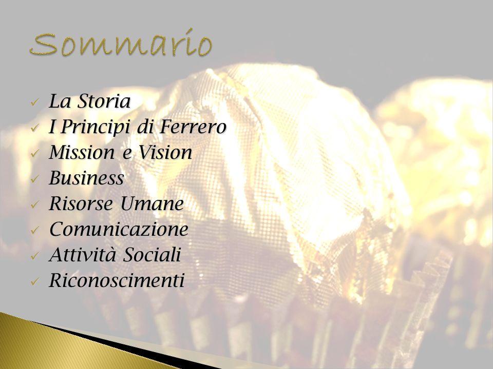 Sommario La Storia I Principi di Ferrero Mission e Vision Business