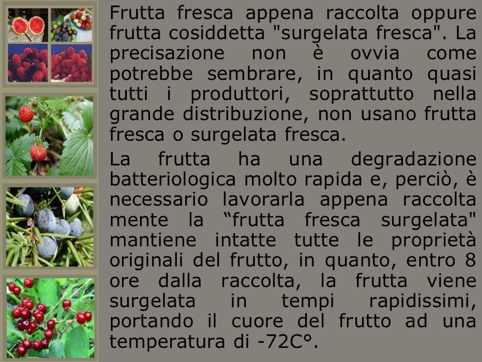 Frutta fresca appena raccolta oppure frutta cosiddetta surgelata fresca . La precisazione non è ovvia come potrebbe sembrare, in quanto quasi tutti i produttori, soprattutto nella grande distribuzione, non usano frutta fresca o surgelata fresca.