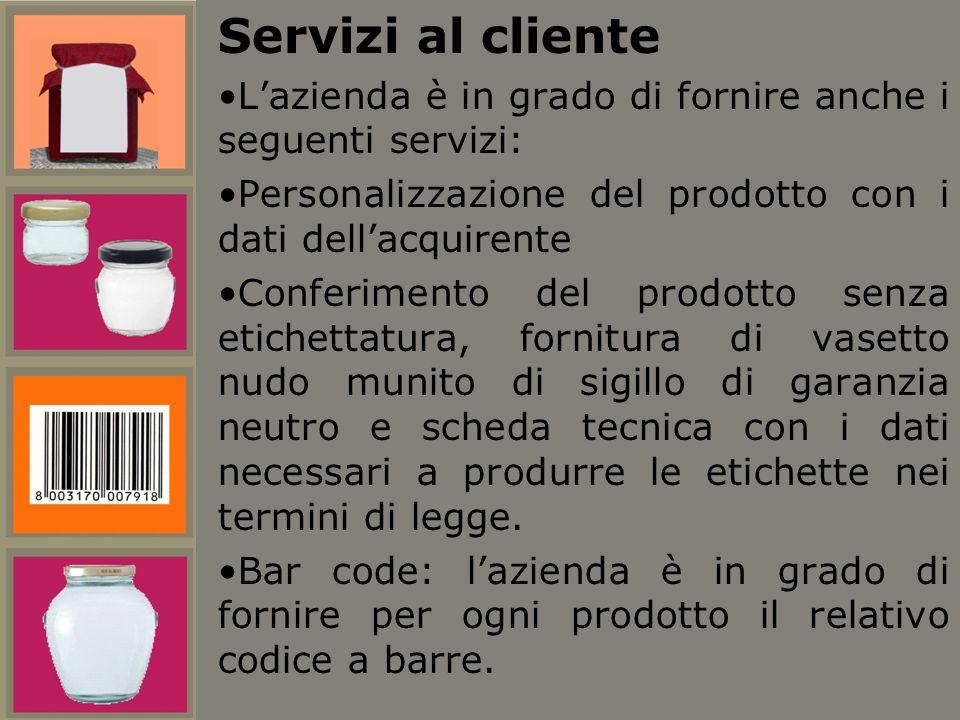 Servizi al cliente L'azienda è in grado di fornire anche i seguenti servizi: Personalizzazione del prodotto con i dati dell'acquirente.