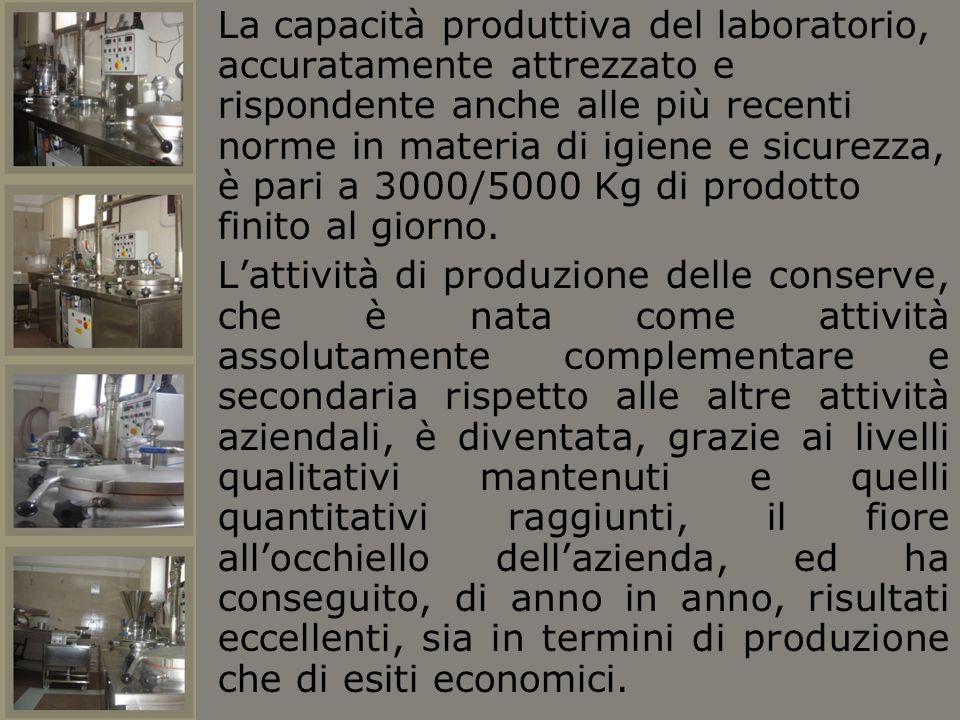 La capacità produttiva del laboratorio, accuratamente attrezzato e rispondente anche alle più recenti norme in materia di igiene e sicurezza, è pari a 3000/5000 Kg di prodotto finito al giorno.