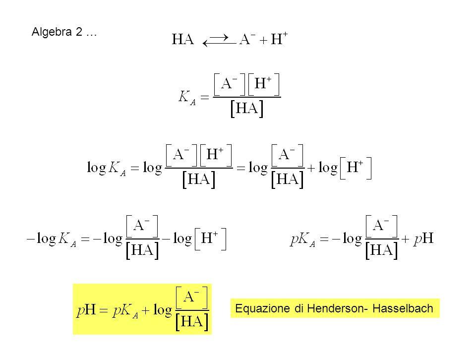 Algebra 2 … Equazione di Henderson- Hasselbach