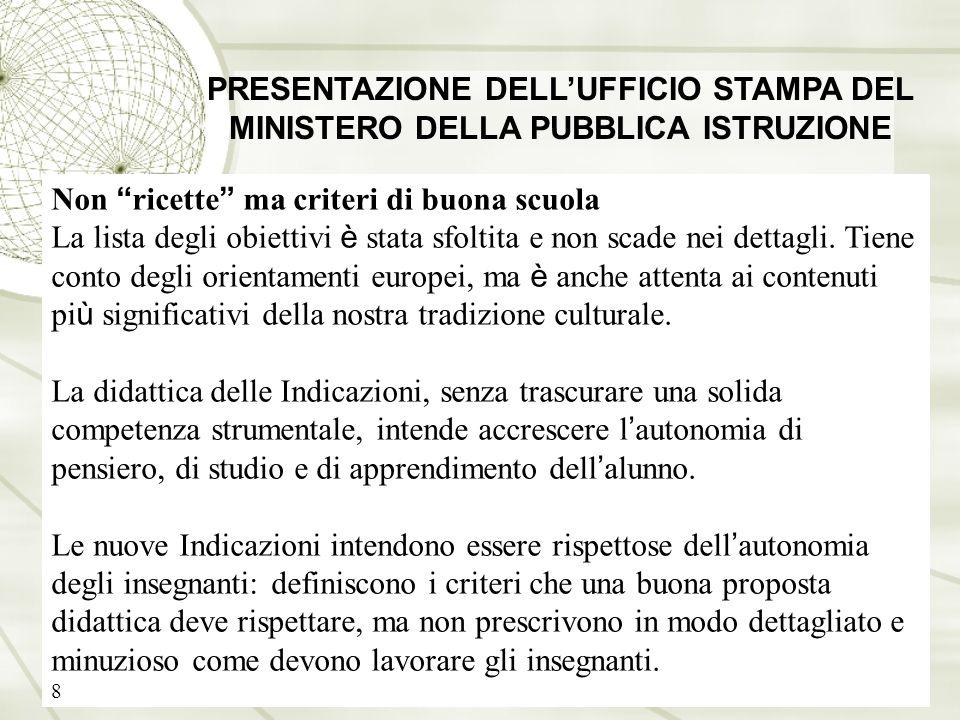 PRESENTAZIONE DELL'UFFICIO STAMPA DEL MINISTERO DELLA PUBBLICA ISTRUZIONE