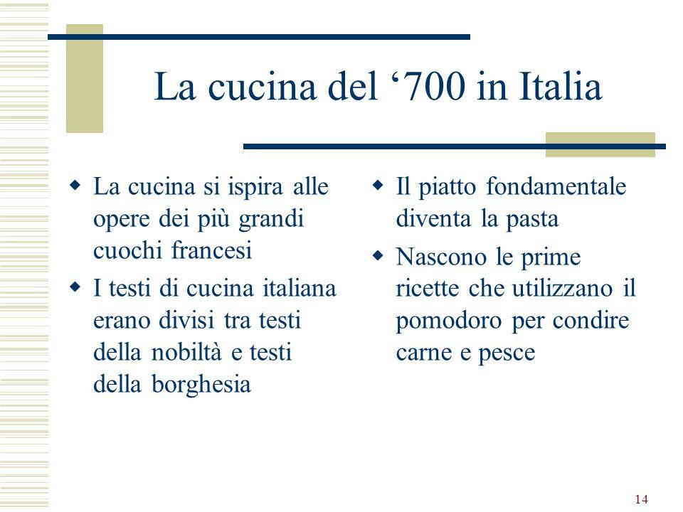 La cucina del '700 in Italia