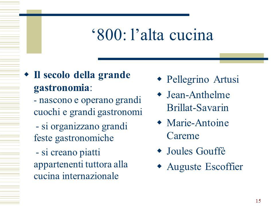 '800: l'alta cucina Il secolo della grande gastronomia: - nascono e operano grandi cuochi e grandi gastronomi.