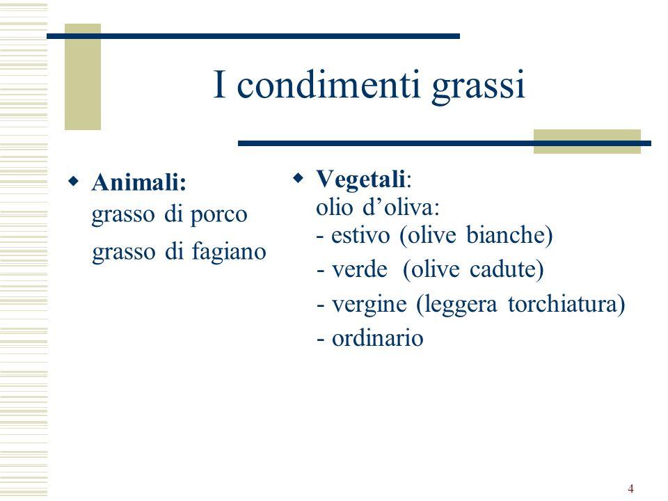 I condimenti grassi Animali: grasso di porco grasso di fagiano