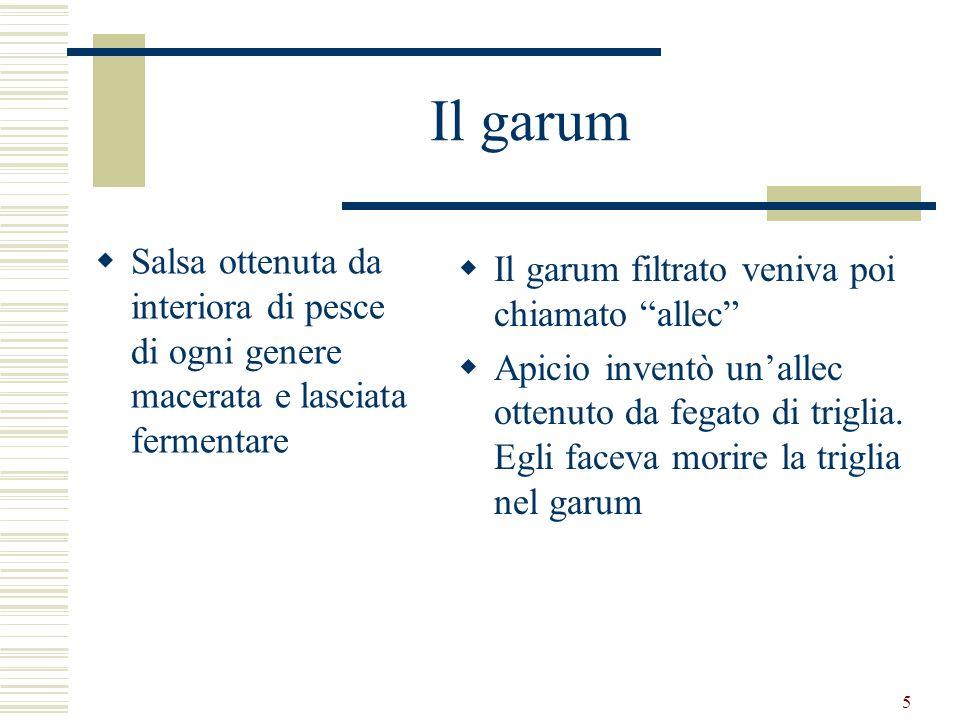Il garum Salsa ottenuta da interiora di pesce di ogni genere macerata e lasciata fermentare. Il garum filtrato veniva poi chiamato allec