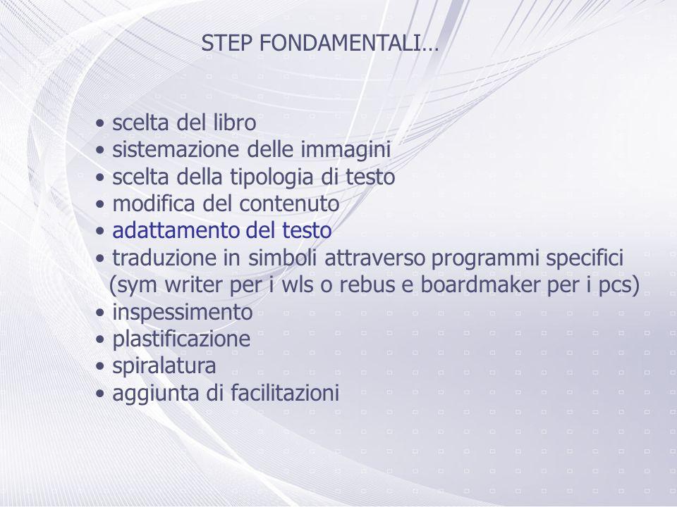 STEP FONDAMENTALI… scelta del libro. sistemazione delle immagini. scelta della tipologia di testo.