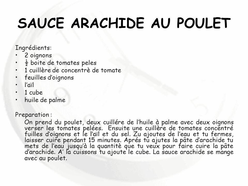 SAUCE ARACHIDE AU POULET