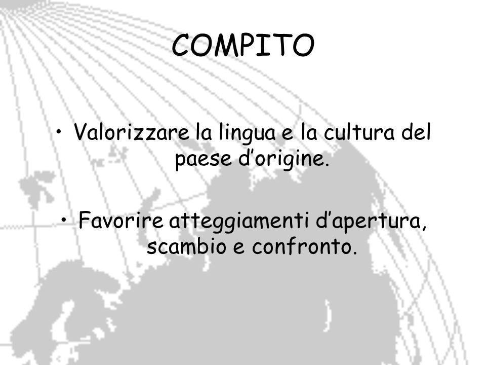 COMPITO Valorizzare la lingua e la cultura del paese d'origine.