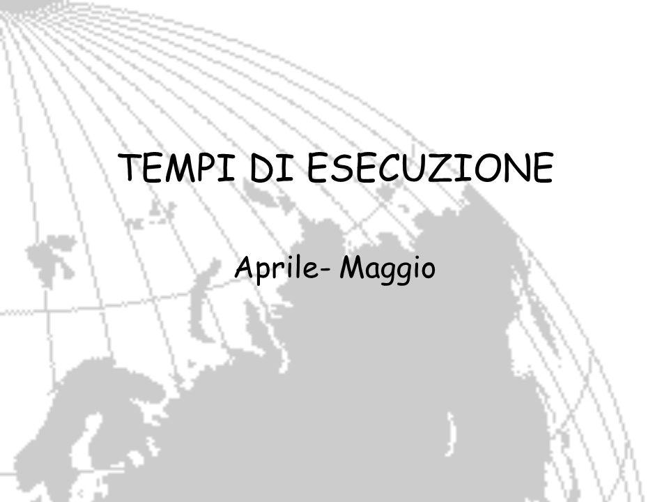 TEMPI DI ESECUZIONE Aprile- Maggio