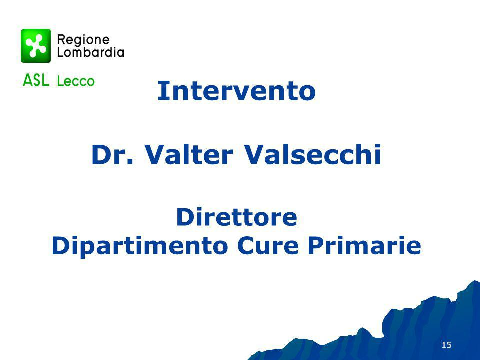 Intervento Dr. Valter Valsecchi Direttore Dipartimento Cure Primarie