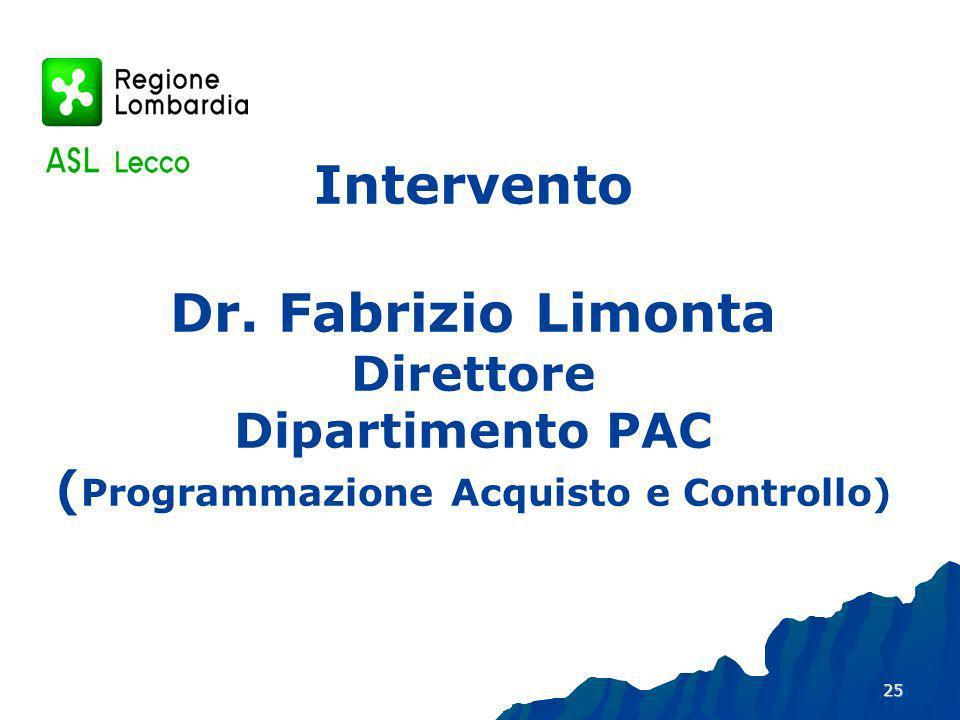 Intervento Dr. Fabrizio Limonta Direttore Dipartimento PAC (Programmazione Acquisto e Controllo)