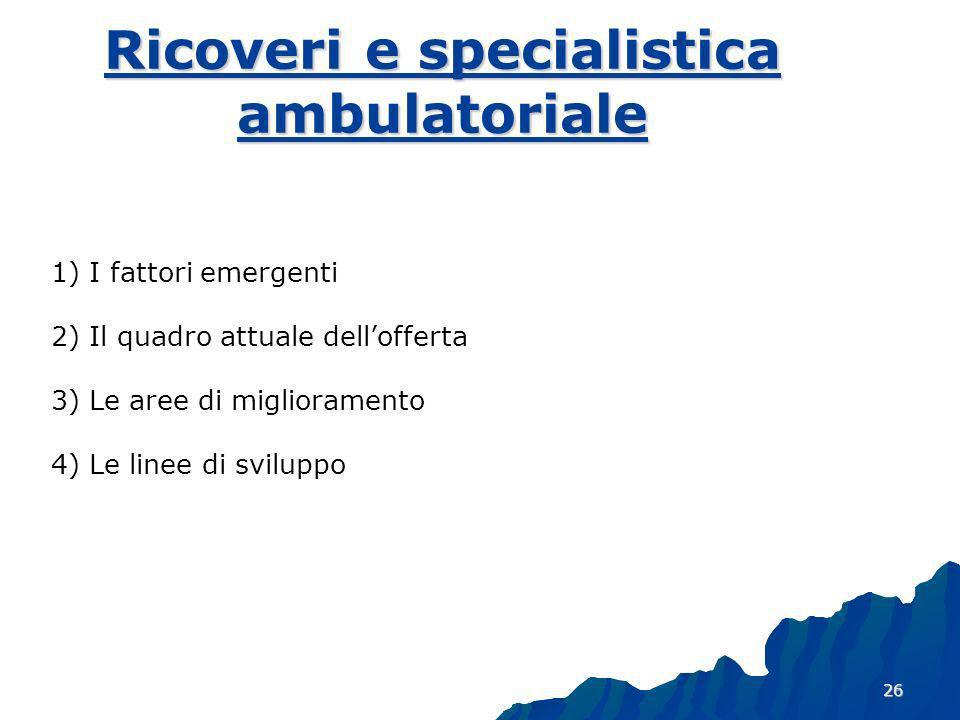 Ricoveri e specialistica ambulatoriale
