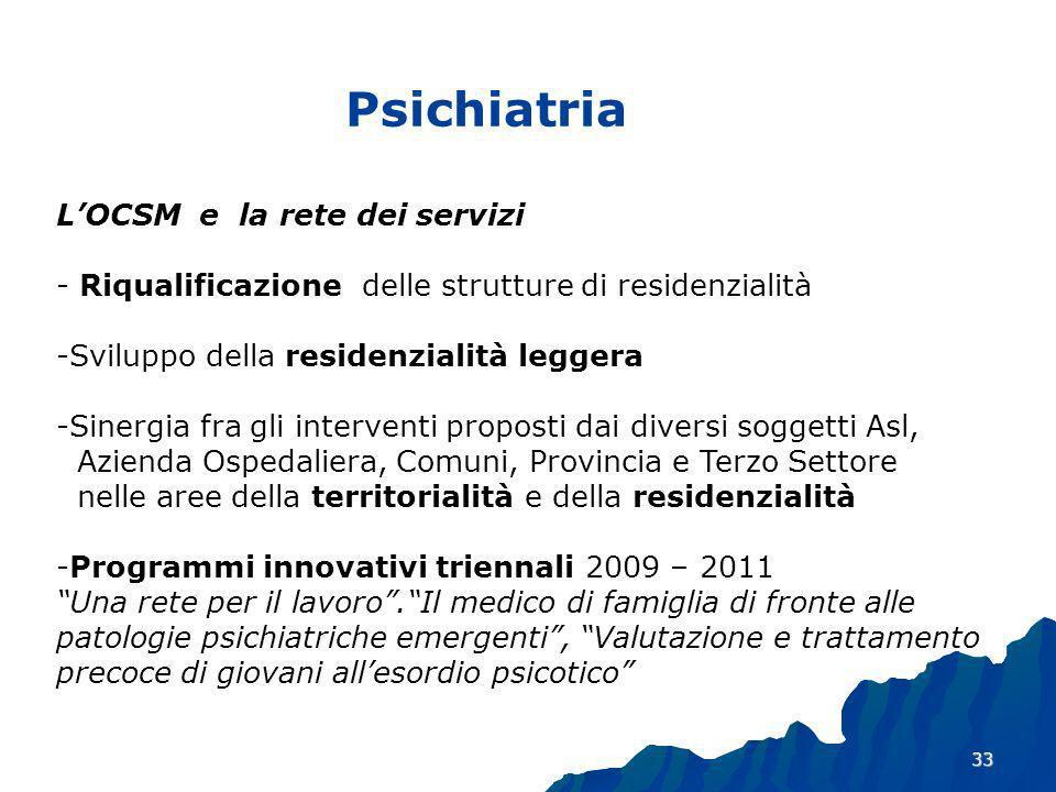 Psichiatria L'OCSM e la rete dei servizi - Riqualificazione delle strutture di residenzialità. Sviluppo della residenzialità leggera.