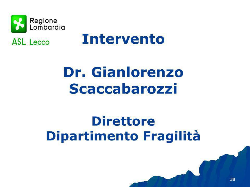 Intervento Dr. Gianlorenzo Scaccabarozzi Direttore Dipartimento Fragilità