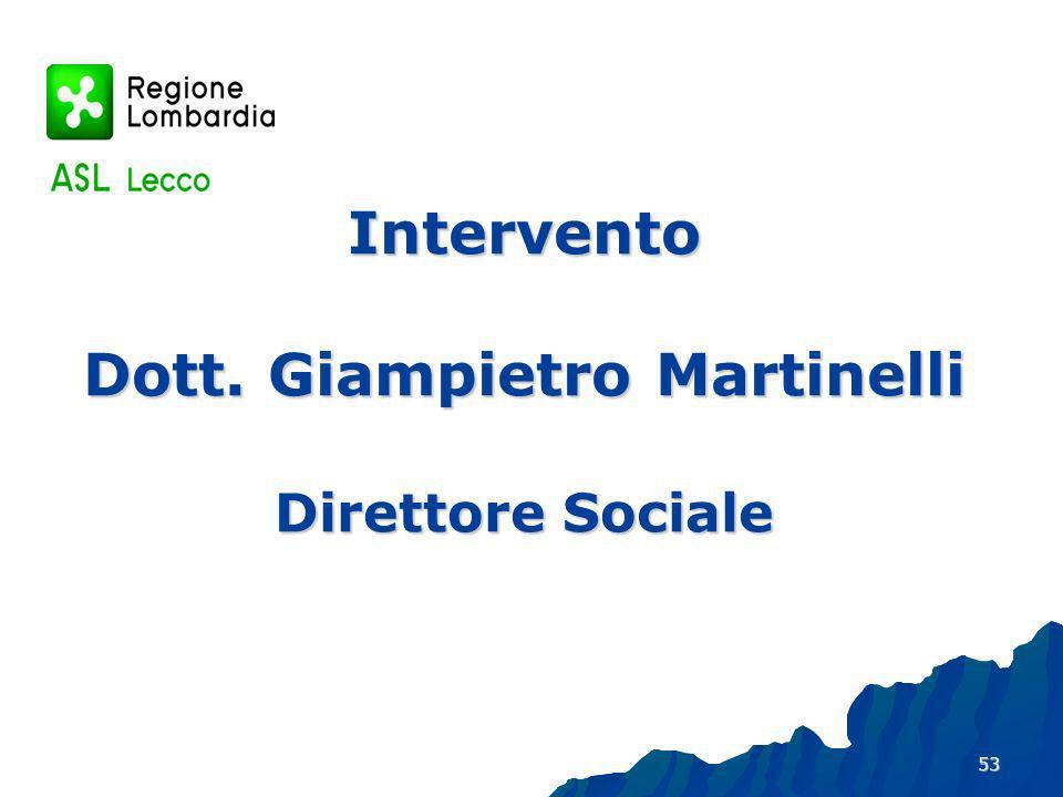 Intervento Dott. Giampietro Martinelli Direttore Sociale