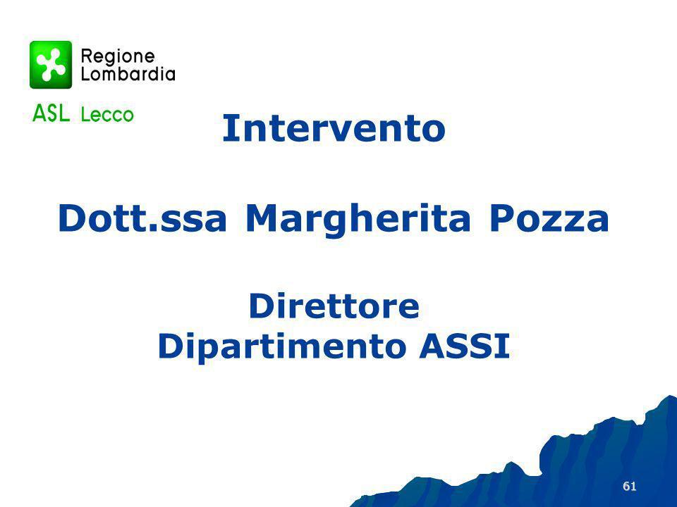 Intervento Dott.ssa Margherita Pozza Direttore Dipartimento ASSI