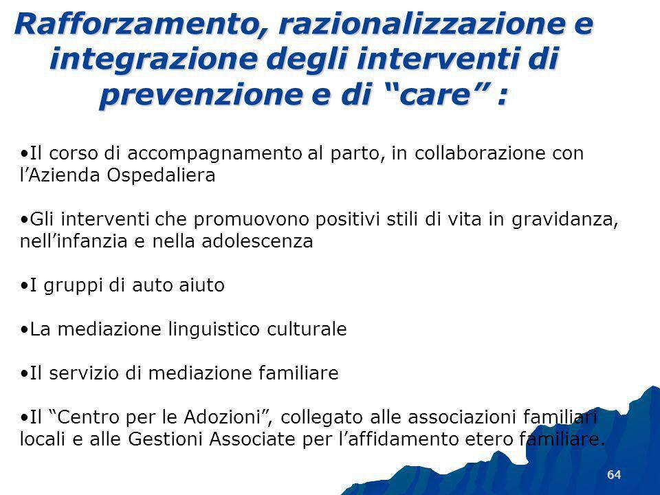 Rafforzamento, razionalizzazione e integrazione degli interventi di prevenzione e di care :