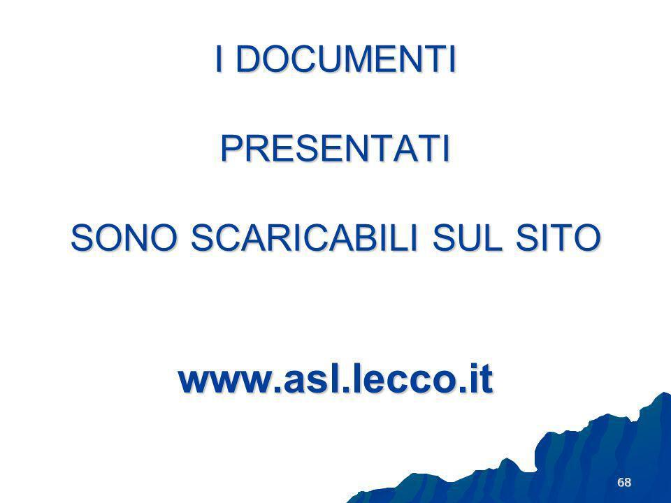 I DOCUMENTI PRESENTATI SONO SCARICABILI SUL SITO www.asl.lecco.it