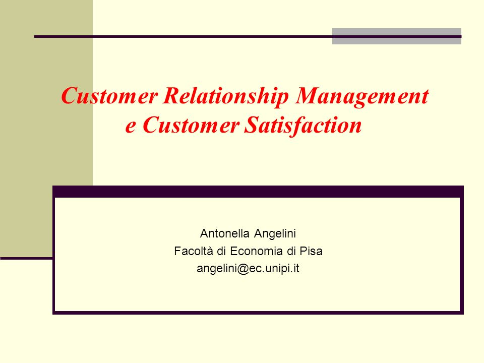 Customer Relationship Management e Customer Satisfaction