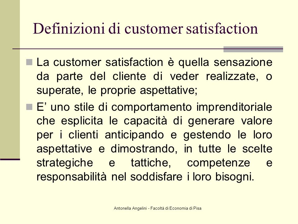 Definizioni di customer satisfaction