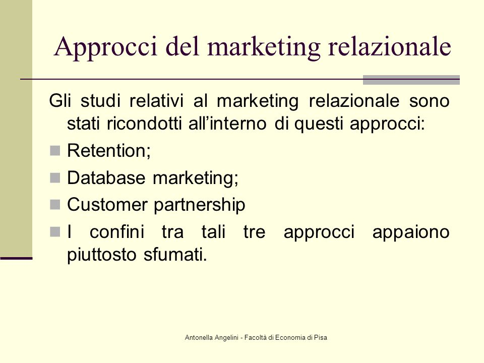 Approcci del marketing relazionale