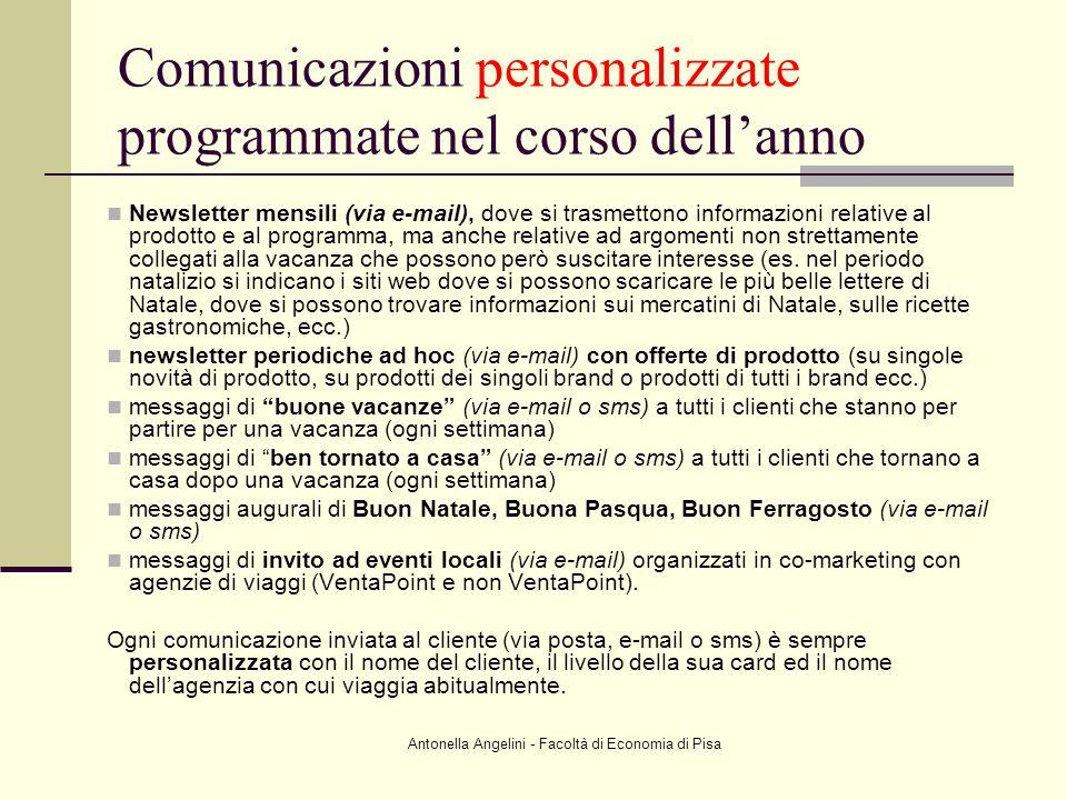 Comunicazioni personalizzate programmate nel corso dell'anno