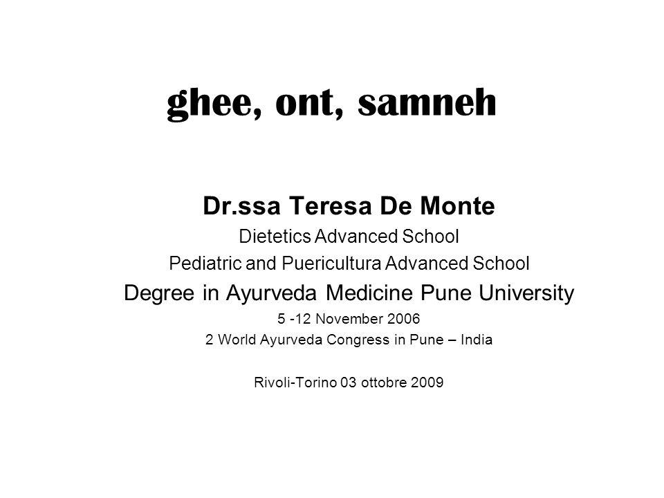ghee, ont, samneh Dr.ssa Teresa De Monte