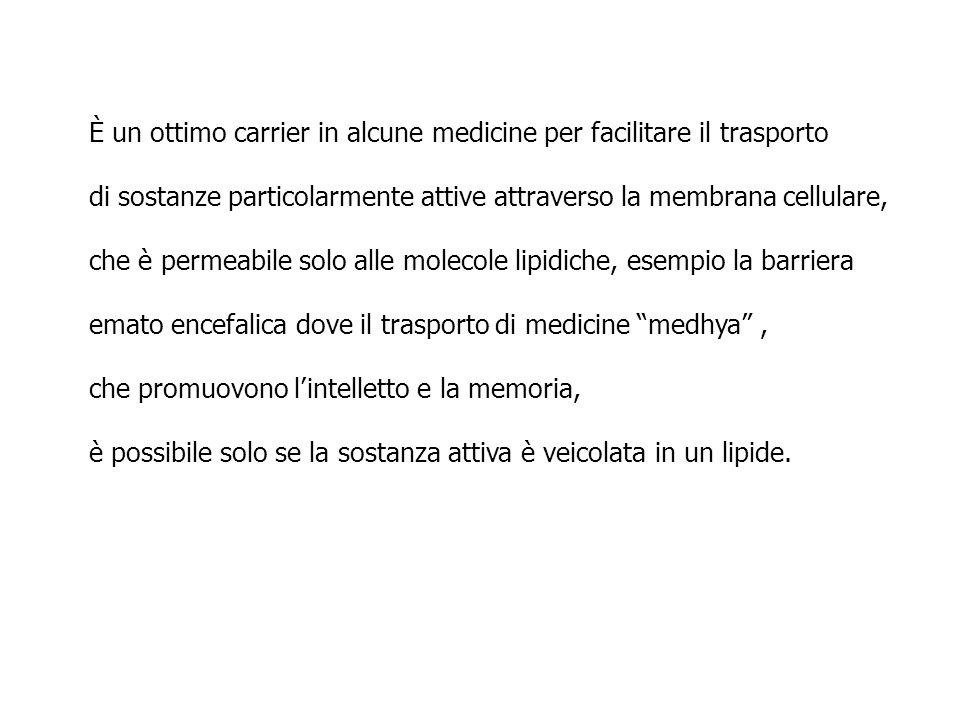 È un ottimo carrier in alcune medicine per facilitare il trasporto