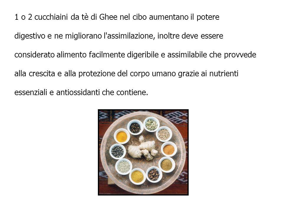 1 o 2 cucchiaini da tè di Ghee nel cibo aumentano il potere