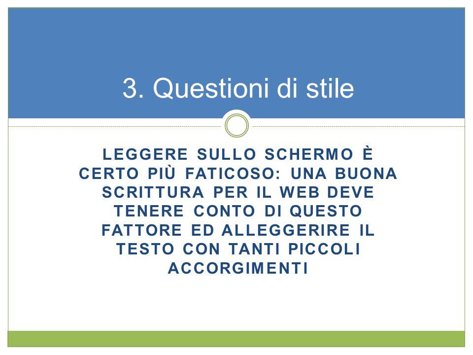 3. Questioni di stile