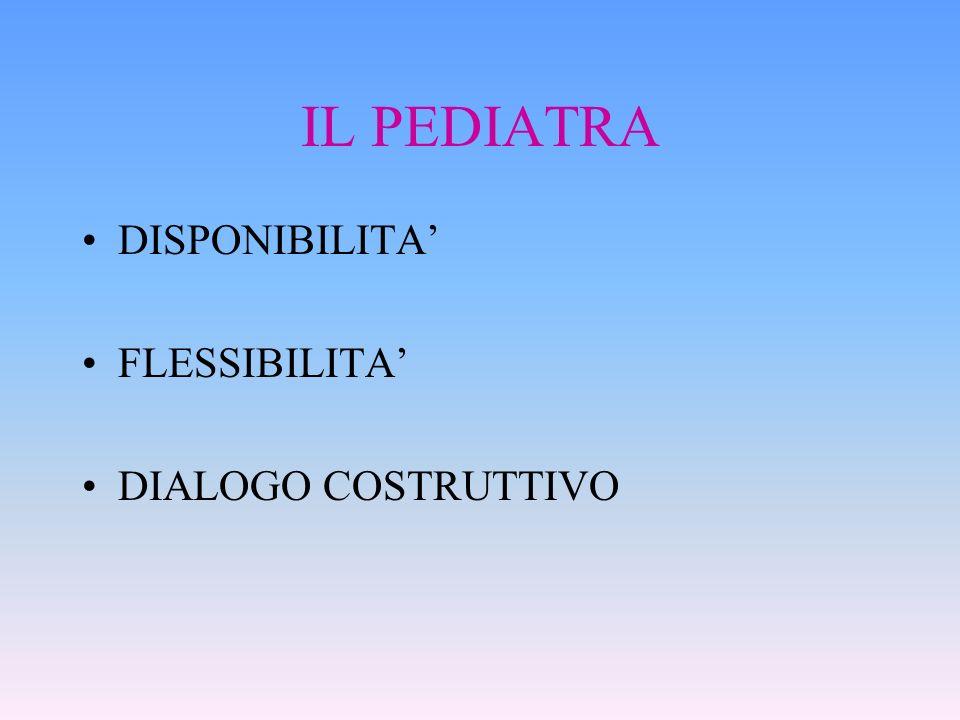 IL PEDIATRA DISPONIBILITA' FLESSIBILITA' DIALOGO COSTRUTTIVO