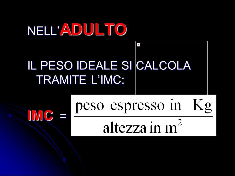 NELL'ADULTO IL PESO IDEALE SI CALCOLA TRAMITE L'IMC: IMC =