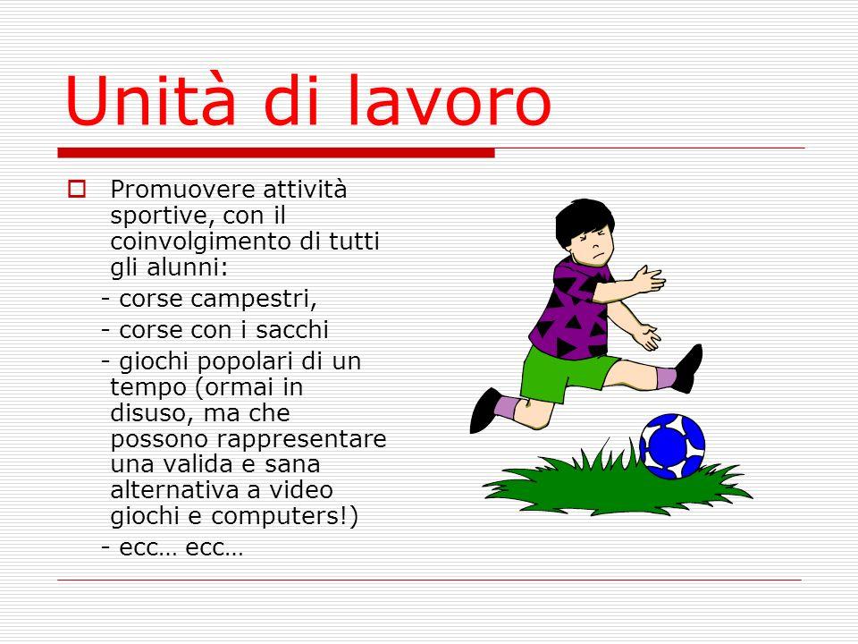 Unità di lavoro Promuovere attività sportive, con il coinvolgimento di tutti gli alunni: - corse campestri,