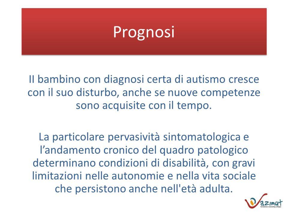Prognosi II bambino con diagnosi certa di autismo cresce con il suo disturbo, anche se nuove competenze sono acquisite con il tempo.