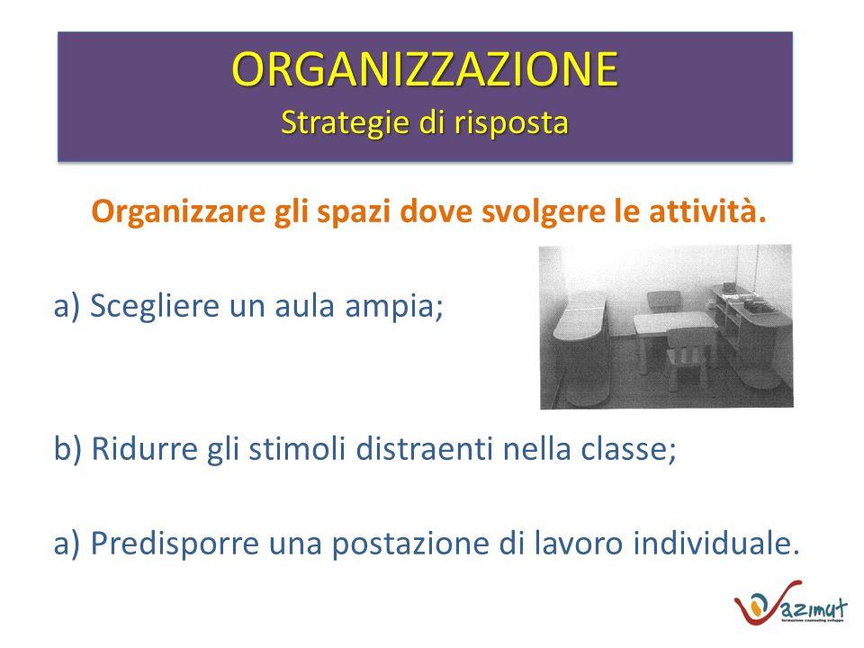 Organizzare gli spazi dove svolgere le attività.