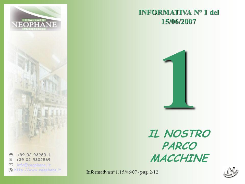 1 IL NOSTRO PARCO MACCHINE INFORMATIVA N° 1 del 15/06/2007