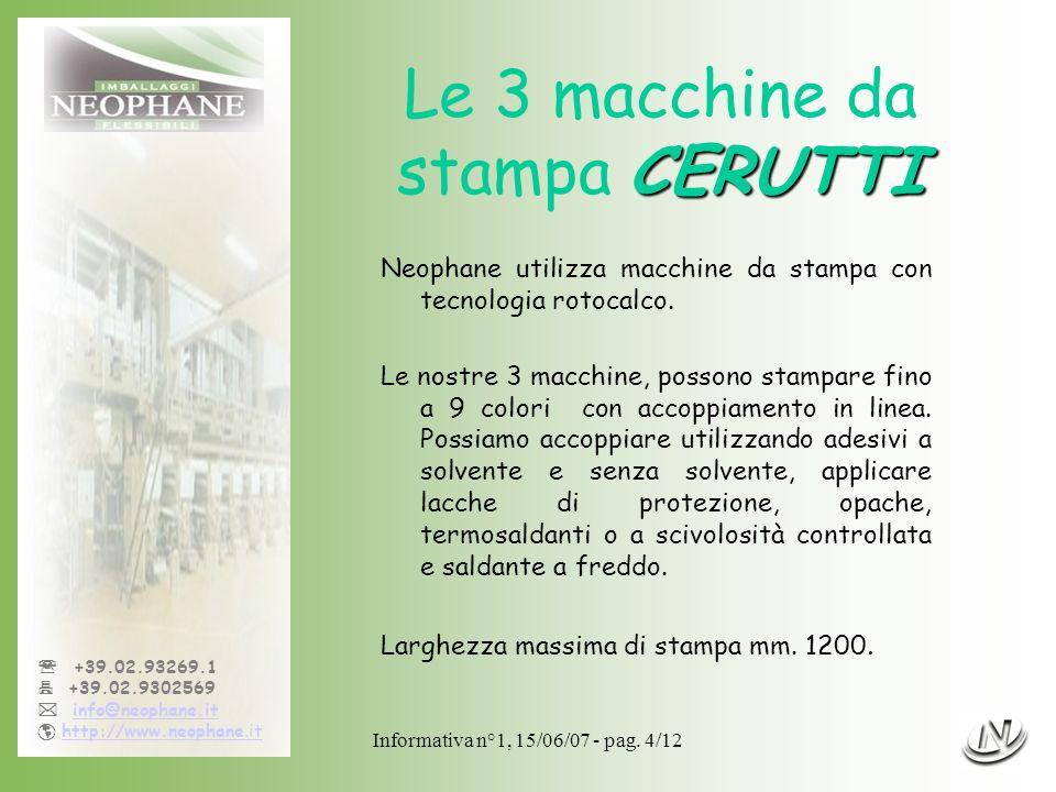 Le 3 macchine da stampa CERUTTI