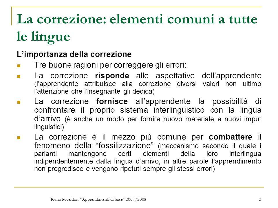 La correzione: elementi comuni a tutte le lingue