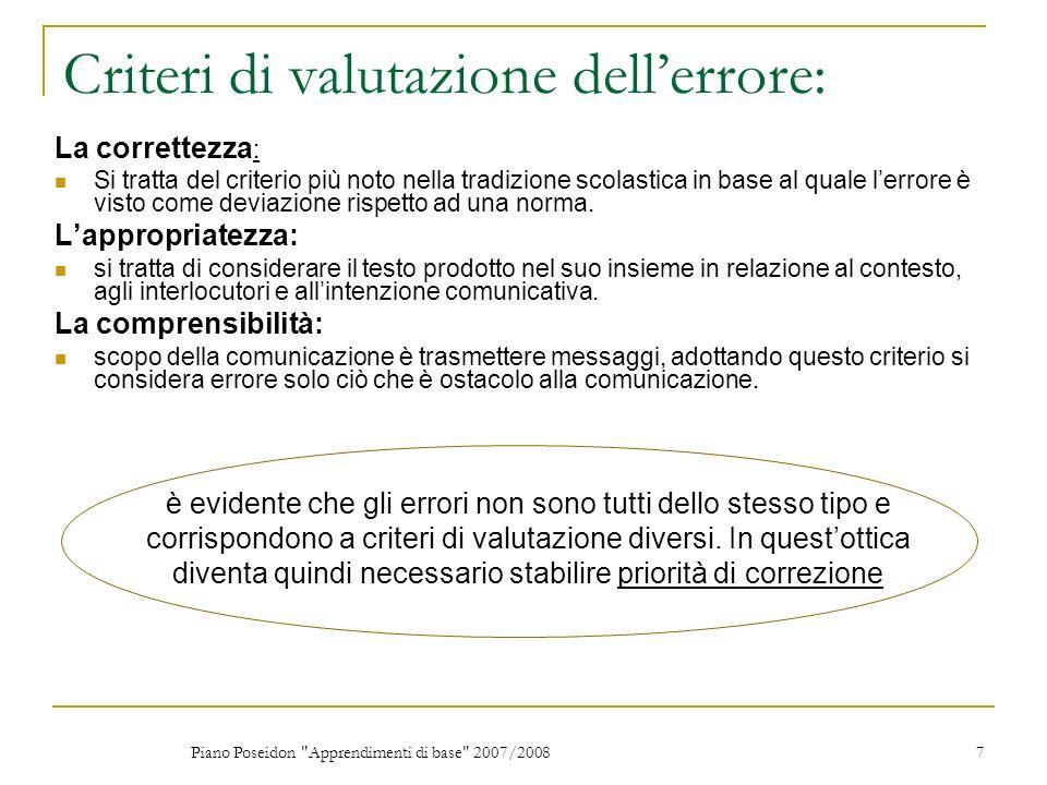 Criteri di valutazione dell'errore: