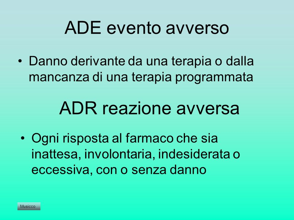 ADE evento avverso ADR reazione avversa
