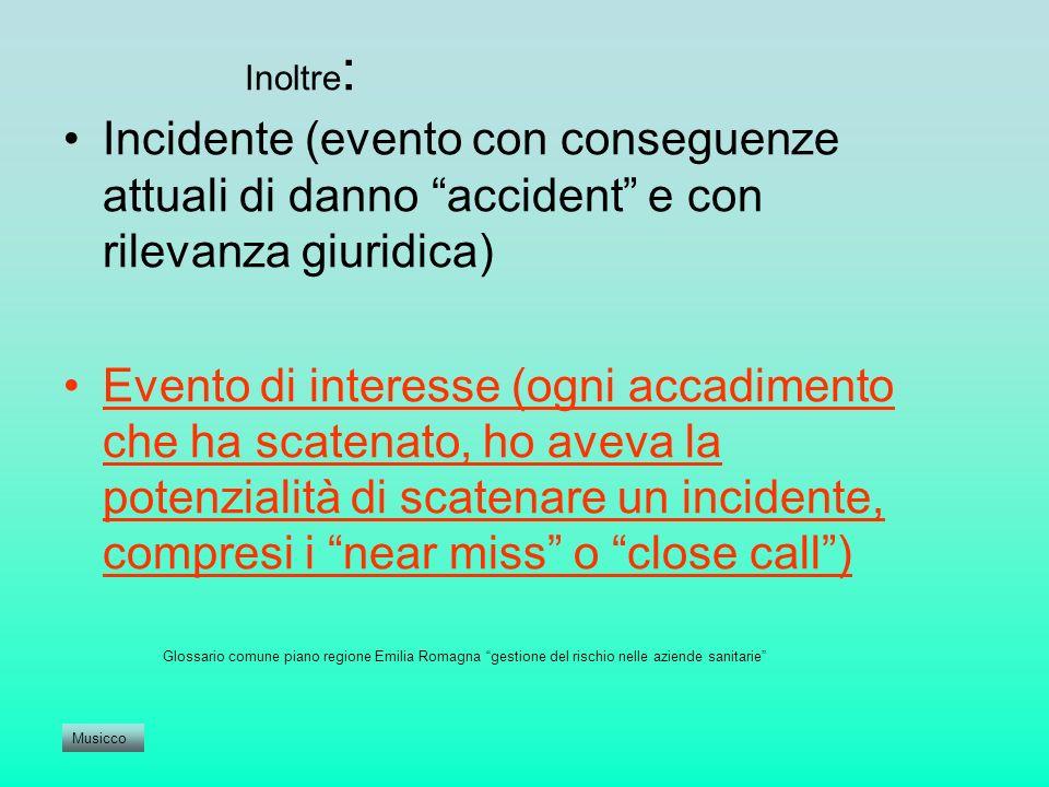 Inoltre: Incidente (evento con conseguenze attuali di danno accident e con rilevanza giuridica)