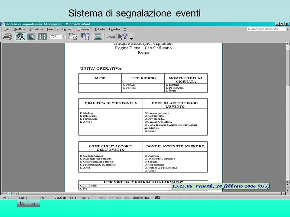 Sistema di segnalazione eventi