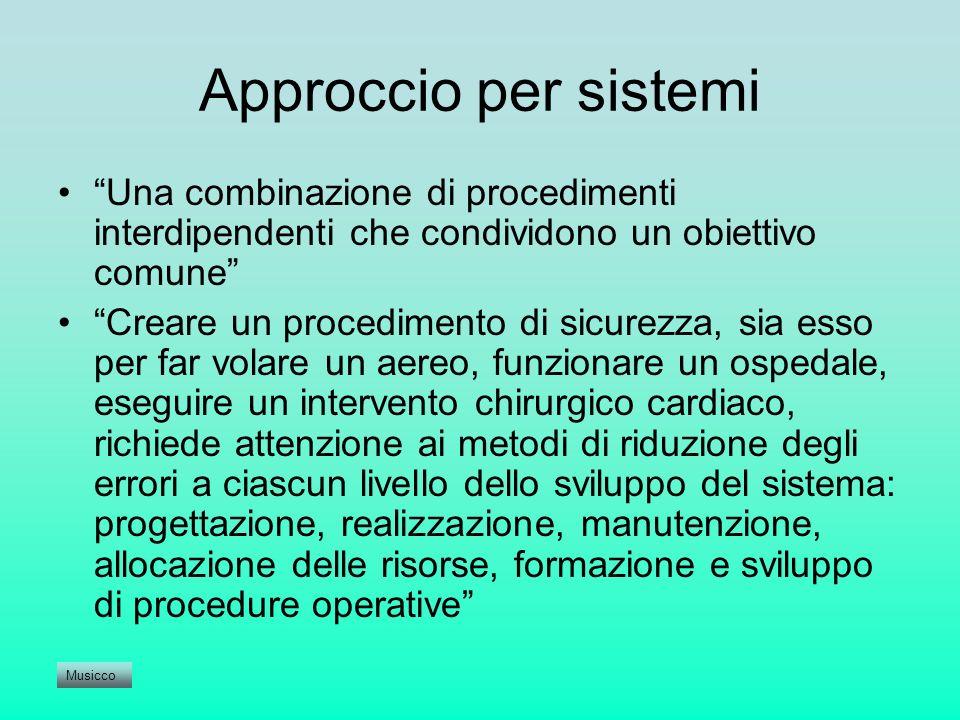 Approccio per sistemi Una combinazione di procedimenti interdipendenti che condividono un obiettivo comune