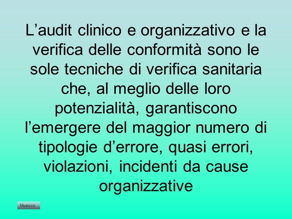 L'audit clinico e organizzativo e la verifica delle conformità sono le sole tecniche di verifica sanitaria che, al meglio delle loro potenzialità, garantiscono l'emergere del maggior numero di tipologie d'errore, quasi errori, violazioni, incidenti da cause organizzative