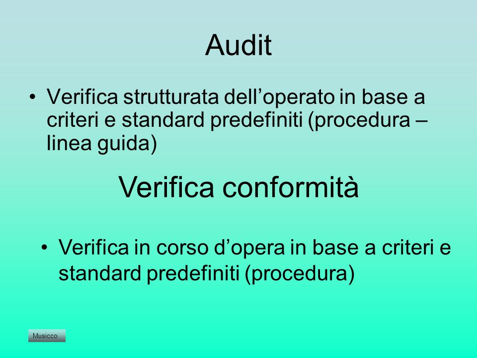 Audit Verifica conformità
