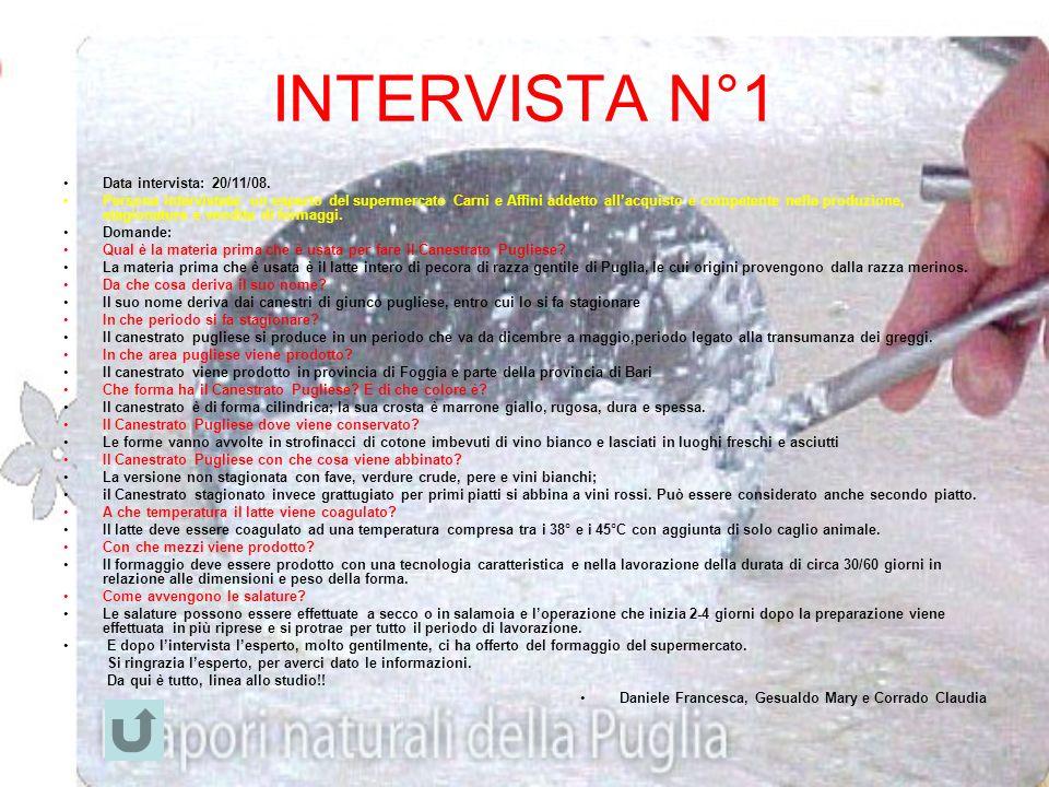 INTERVISTA N°1 Data intervista: 20/11/08.